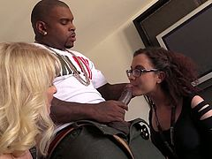 Blonde MILF and brunette teen suck big black cock in a bedroom. Then they take clothes off and get their pussies drilled hard.