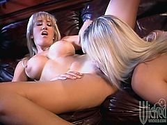 Two adorable blonde chicks with big boobs has sensual lesbian sex. They lick one another's pussies in an office.