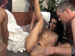 Cuckold Sessions brings you a hell of a free porn video where you can see how the alluring brunette temptress Lou Charmelle gets banged very hard by a horny dude in front of her husband.