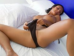 Sizzling brunette babe lies on a bed. She takes a swimsuit off and starts to fondle her smooth pussy. Then Adria takes the dildo and starts to shove it deep in her ass.