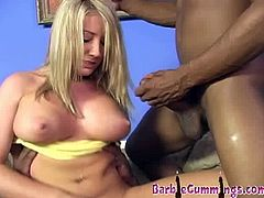 Hot Barbie Cummings is ready for some harcore action with two huge black cocks. One slides into her horny pussy, while she is sucking one and received fresh creampies.