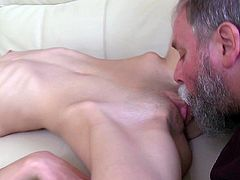 Skinny young babe gets fucked by old man after horny blowjob.