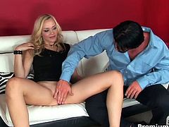 Gorgeous blonde german girl Annette Schwarz is having fun with a big cock. She takes it in her horny pussy and then in her butthole!