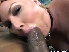 A fuckin' slutty bitch sucks on a huge-ass black cock and then gets motherfuckin' fucked, check it out right here, it's fuckin' awesome!