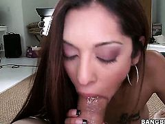 Latina Crystal Lopez with big booty is curious about oral sex with hard cocked dude