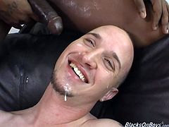 Very hot and nasty white gay guy gives great blowjob to this fat black cock. He then spreads his legs and gets his ass nailed hard and rough.