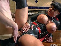 Busty super girl Kerry Louise gets banged in the kitchen
