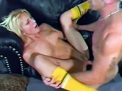 She is sucking her boyfriends big stiff cock and then spread her legs to take it deep in her shaved pussy. Enjoy watching her being banged roughly.