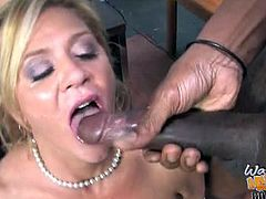 Checkout this sexy milf Ginger Lynn is punished by two big black cocks because of her son owns them huge money.This milf s happy to get her pussy fucked by these huge black cocks to teach her son a lesson.She orders him to watch how mommy rides those huge cocks and gets cumshot from them.