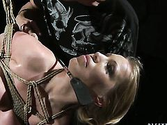 Blonde Kira Banks blows the jizz out of snake