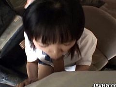 See a perverse and intense Asian brunette teen babe devouring a big black cock in this awesome video. Then she's ready to masturbate for her man.