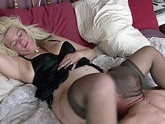 This woman always gets what she wants. She spreads her legs wide indicating how bad she wants her lover to lick her wet pussy. Horny dude is powerless to resist her. He licks her fanny like a true pussy eater.