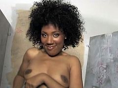 A hot black babe finds a white cock in a bathroom, grabs it hard and gets pounded by it in a hot glory hole movie.See how this sexy ebony shows her hot pussy and boobs before she sucks and fucks on that white cock through glory hole.