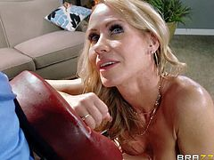 Beautiful topless milf Simone Sonay with huge boobs enjoys the massage and gets seduced by Johnny Sins in this hot scene. He pulls her panties aside and touches her pink pussy from before she finds her mouth stuffed.
