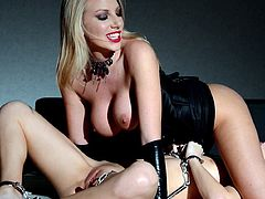 Slutty milf plays amazingly rough with young girl in top lesbian femdom scene
