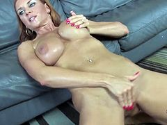 Masturbate watching this blonde MILF, with gigantic love pillows wearing a miniskirt, while she has interracial sex and moans loudly!