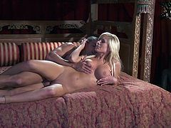 A fuckin' hot blonde slut sucks on this dude's hard cock and then gets it shoved balls deep into her fuckin' gash, check it out!