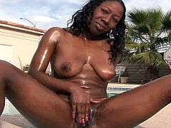 Horny and very eager for action, young ebony plays naughty in outdoor porn scene