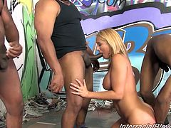 Get excited watching this blonde cougar, with giant knockers wearing a thong, while she goes hardcore with different black dudes at the same time.