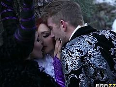 Horny Romi Rain and Violet Monroe are two horny witches, who love to fuck with the prince. Watch them deepthroating his super big cock and then riding it nasty.