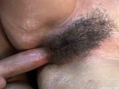Have a look at this hardcore scene where a horny redhead mature is fucked by a guy after she sucks on this guy's big cock.