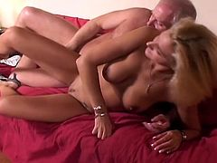 Horny old dad with huge cock takes busty brunette babe on the couch for non-stop pussy ramming.