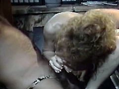 Hefty figured fair haired salacious gal with saggy pussy was satisfied this hot evening. She gave nice blowjob to beefcake dude. The second crazy stud licked her limp twat meanwhile. Look at this insatiable hoe in The Classic Porn sex clip!