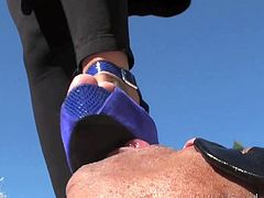 Slutty bitch on high heels makes her guy obey her dirty desires