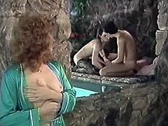 Broad assed mesmerizing dark haired bombshell gets her hungry kitty eaten in pool. Then she swallows giant penis under water as well and gets hot booty hole fucked from behind. Look at this pool fuck in The Classic Porn sex clip!