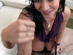 Impossibly pervert slutty dark head hootchie applied her dirty long pierced tongue to satisfy throbbing pecker of her hot blooded fellow. Watch this hot bj in Fame Digital sex video!