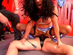 Dude humiliates blonde and brunette whores in a hot threesome domination scene.