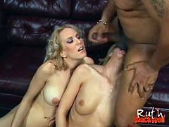 Kelly Wells joins threesome fucking. She gags for that massive dick before letting it inside her pussy while her buddy patiently waits for her turn while masturbating.