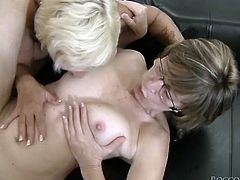 Impossibly ugly blond head slutty old cougar got her dreadfully haired smelly twat powerfully eaten by sweet blond head busty babes in flying pose. Watch this disgusting sluts in Fame Digital porn clip!