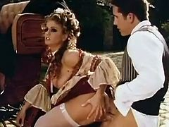 She is dressed like a damn lady of 18th century! The blowjob she gives to her lord and the way he fucks is right in this porn video!