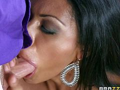 Cassandra Cruz is his boss ultra sexy latian wife with long legs, jet black hair, natural tits and sweet shaved pussy. She sucks his cock eagerly before he gives her sexy pussy a lick in front of her blind drunk husband!