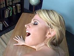 Watch the perverse blonde Sindee Jennings getting on his knees and giving her man a hell of a POV blowjob while flaunting her hot tits.After a long sucking she rides that big cock.