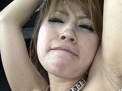 Dirty slut with small tits and hairy pussy tied up and sexually tormented in kinky Japanese porn video. Filthy porn video with restraint elements is filmed and produced by Jav HD.