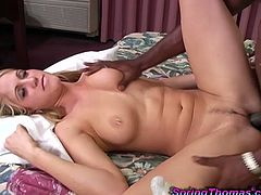 Cute blonde chick lets her GF stuff her holes with toys in a bathroom. Then the blonde bitch gives a blowjob to a black stud and lets him drill her snatch deep and hard.