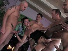 Smokin' hot Danica Dillon take on five guys in this gangbang of epic proportions! This nasty whore want every hole filled and filled again - D.P.'s and ATM's that'll make your short and curlies curl, multiple cocks jammed into one luscious mouth for a cum-swallowing feast, nasty simultaneous anal-pussy-throat fucking - you name it, Diabolic delivers!