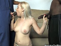 Slutty blonde Cindi Loo is having fun with three black dudes indoors. She sucks their wangs ardently and then allows the guys to fuck her ivory cunt and asshole at the same time.