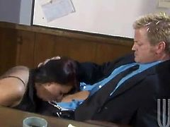 Gorgeous brunette chick gives an unforgettable blowjob to her boss right in the office. Then Eva takes off clothes and gets nailed hard on a table.