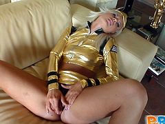 Prepare your cock for this blonde angel, with a nice ass wearing a golden outfit, while she goes hardcore with an aroused guy in a reality video.