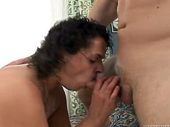 Eva is a BBW mature with big natural tits having her wet pussy drilled by this guy's hard cock on camera. Watch her end up filled by cum in this great film.