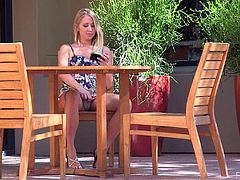 What a great solo scene this is! Divine and kinky blondie Casy gets naked outdoors in public. Sure, she is not shy!