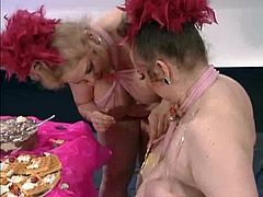BBW Twins Foodfucked By BBC & BWC Messy Fun