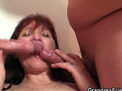 Grandma Friends brings you a hell of a free porn video where you can see how a vicious redhead mature sucks and fucks two hard cocks while assuming very interesting poses.
