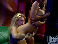 Two gorgeous MILFs with curvy bodies lick each others big tits and pussies lying on a sofa. It is obvious that these women are very experienced because they know a lot of lesbian positions.