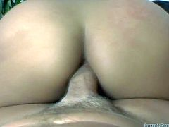 Dark haired filthy sexploitress with impossibly big button sucked sweet pecker of her fuck boy and in a while rided it furiously in reverse cowgirl pose. Look at this drunk whore in Fame Digital sex video!