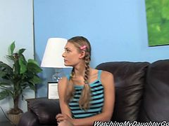 Press play to watch this teen blonde in pigtails, with a nice ass wearing a miniskirt, while she goes hardcore to prove her father she can do something!
