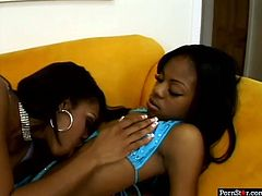 See how two classy black babes make out in lesbian way. Hot black bitches go down on each other licking their wet black twats.